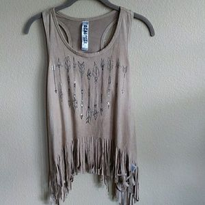 Fringe feather tank top